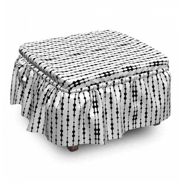 Abstract Mono Lines Dots 2 Piece Box Cushion Ottoman Slipcover Set By East Urban Home