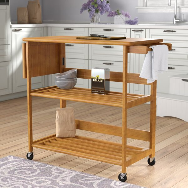 Quiroga Kitchen Island with Wood Top by Andover Mills