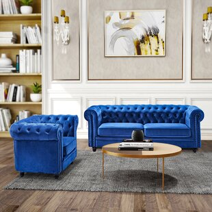 Giguere 2 Piece Velvet Configurable Living Room Set by Rosdorf Park