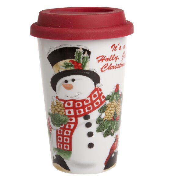 Holly Berry Snowman Travel Mug by Fitz and Floyd