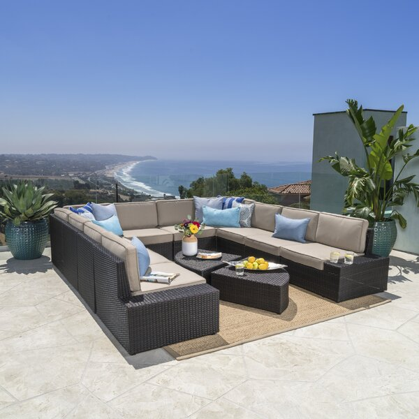 Donahoe 12 Piece Sectional Set with Cushions by Mercury Row