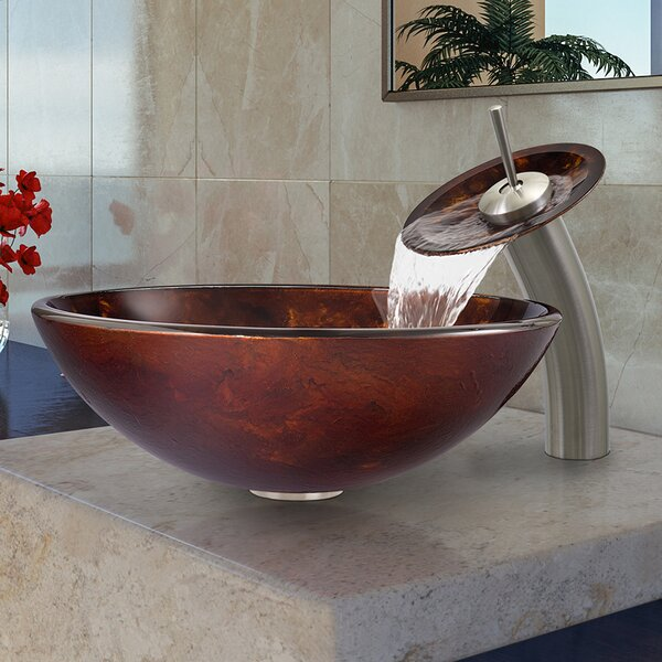 Glass Circular Vessel Bathroom Sink with Faucet by