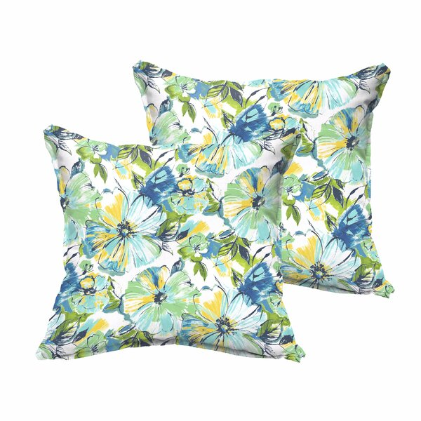 Shoffner Blue/Yellow Indoor/Outdoor Throw Pillow (Set of 2) by Andover Mills