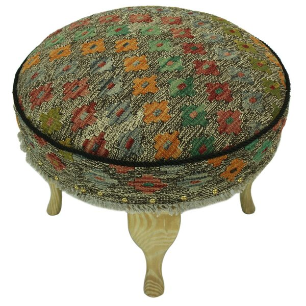 Sthilaire Kilim Upholstered Handmade Ottoman by Bloomsbury Market