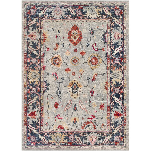 Raminez Distressed Floral Gray/Burnt Orange Area Rug by Bungalow Rose