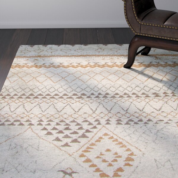 Aiden Hand-Knotted Ivory Area Rug by World Menagerie