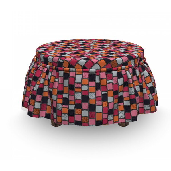 Patchwork Bricks Ottoman Slipcover (Set Of 2) By East Urban Home
