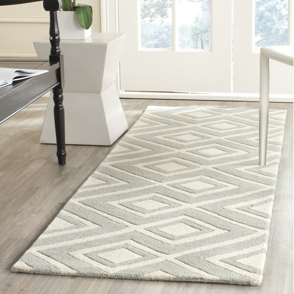 Wilkin Hand-Tufted Wool Gray/Ivory Rug by Wrought Studio