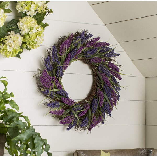 Spring 22 Plum and Artificial Heather Floral Wreath by Ophelia & Co.