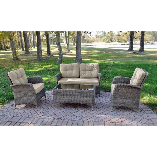 Branstetter 4 Piece Rattan Sunbrella Sofa Seating Group with Cushions by Canora Grey