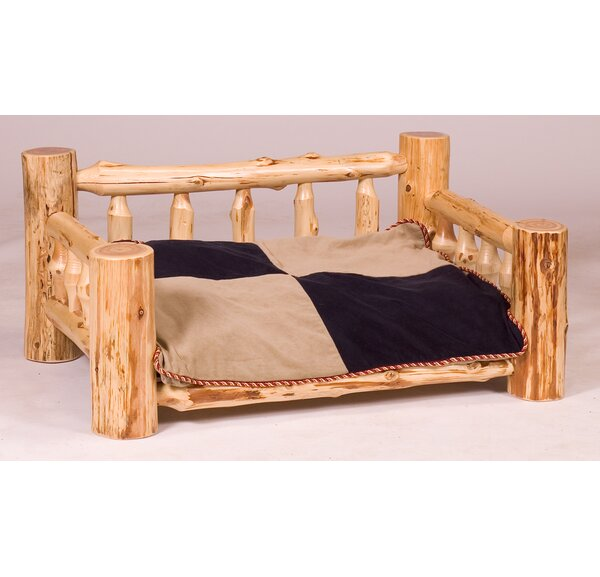 Traditional Cedar Log Dog Bed with Standard Mattress by Fireside Lodge