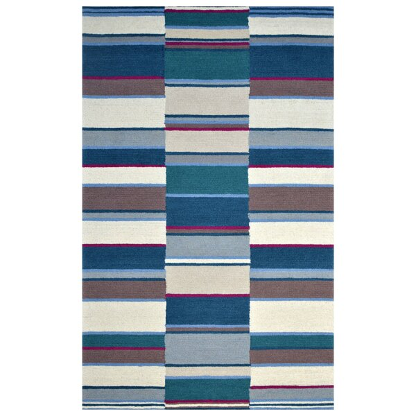 Hand-Woven Ivory/Blue Area Rug by Eastern Weavers
