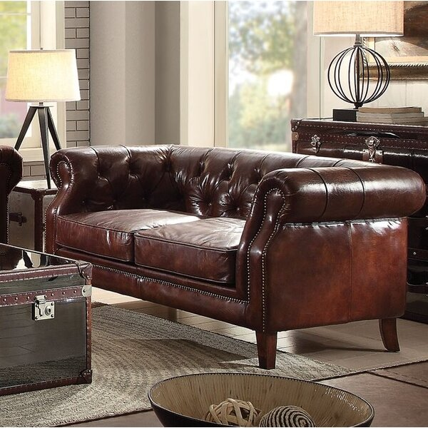 Drage Leather Loveseat by Canora Grey