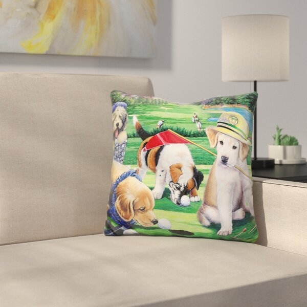 Golfing Puppies Throw Pillow by East Urban Home