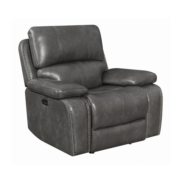 Claghorn Faux Leather Power Glider Recliner in , Power W003320648