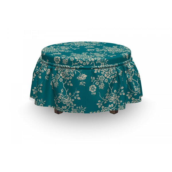 Leaf Roses On Blossoming Branches 2 Piece Box Cushion Ottoman Slipcover Set By East Urban Home