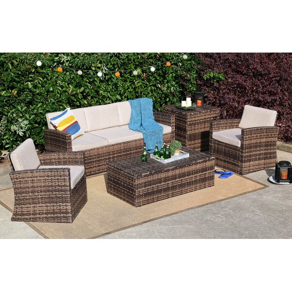 Springer 5 Piece Rattan Sofa Seating Group with Cushions by Rosecliff Heights