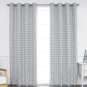 Houndstooth Check Geometric Blackout Grommet Thermal Curtain Panels (Set of 2)