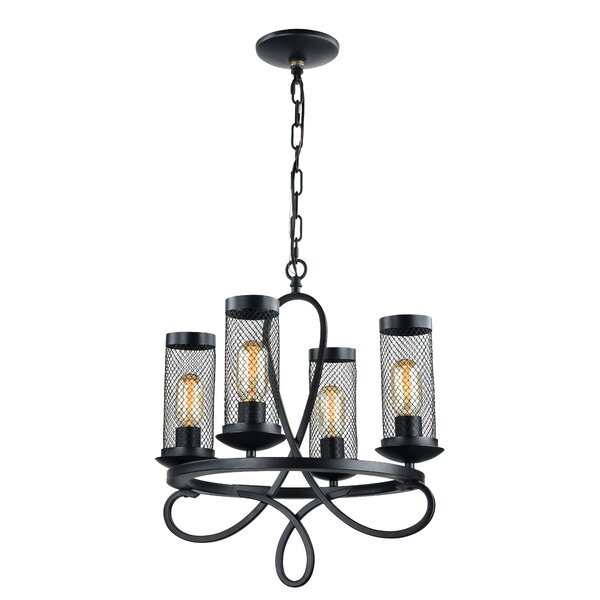 Hanut 4 - Light Shaded Wagon Wheel Chandelier by 17 Stories 17 Stories