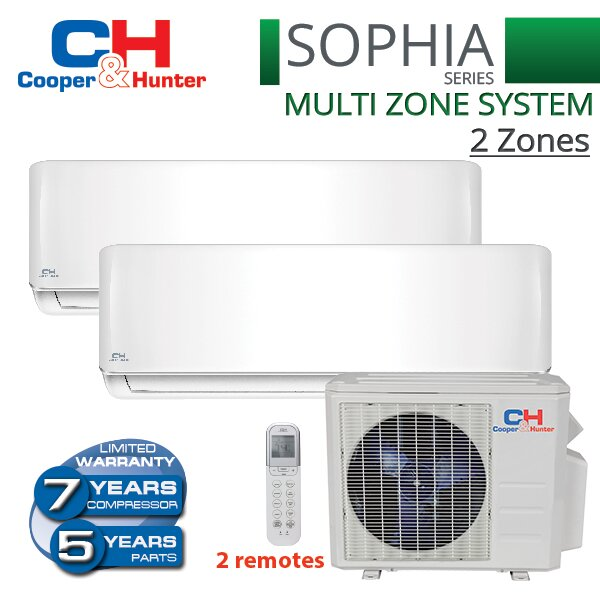 Sophia 18,000 BTU Energy Star Ductless Mini Split Air Conditioner With Remote (Set of 3) by Cooper&Hunter