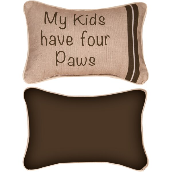 My Kids Have Four Paws Word Lumbar Pillow by Manual Woodworkers & Weavers