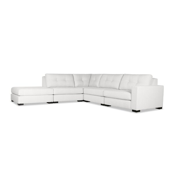 Home & Outdoor Brose Buttoned Modular Sectional With Ottoman