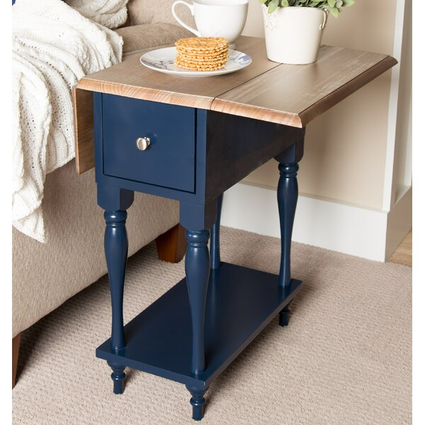 Meera Wood Top Drop Leaf End Table by Winston Porter