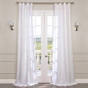 pyrogi solid sheer rod pocket single curtain panel