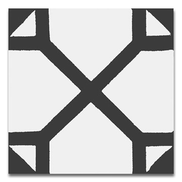 Amoud 8 x 8 Handmade Cement Tile in Black and White by Moroccan Mosaic