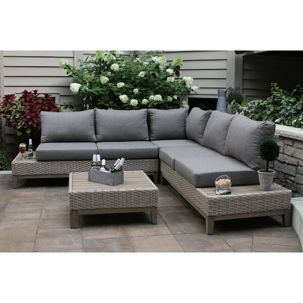 Rex 4 Piece Sectional Seating Group With Cushions By Beachcrest Home by Beachcrest Home Top Reviews