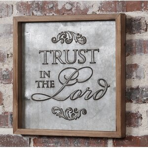 'Trust in the Lord' Framed Textual Art on Metal by August Grove