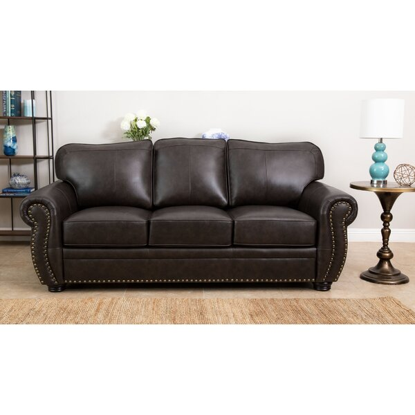 Get The Latest Hotchkiss Leather Sofa by World Menagerie by World Menagerie
