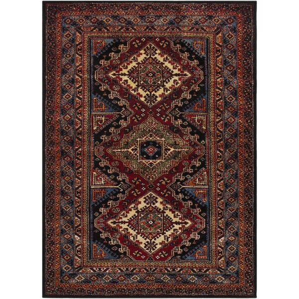 Brahim Red/Black Area Rug by World Menagerie