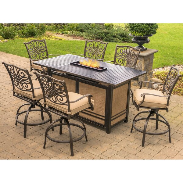Carleton 7 Piece Dining Bar Height Dining Set with Cushions by Fleur De Lis Living
