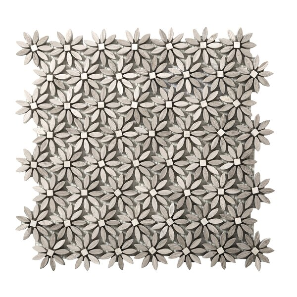 Metro Daisy Random Sized Marble Mosaic Tile in Cream by Emser Tile