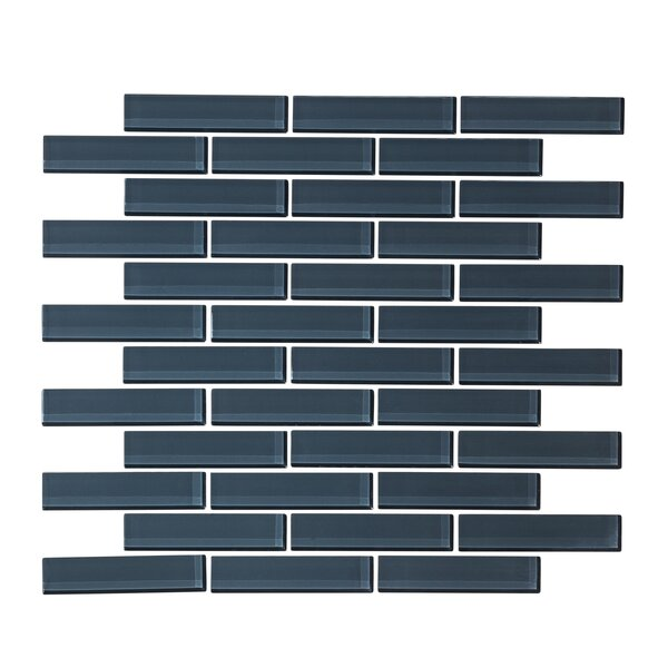 1 x 3 Glass Mosaic Tile in Steel Blue by Vicci Design