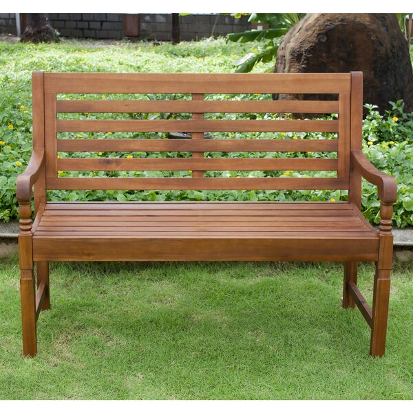 Harmony Garden Bench Natural by August Grove