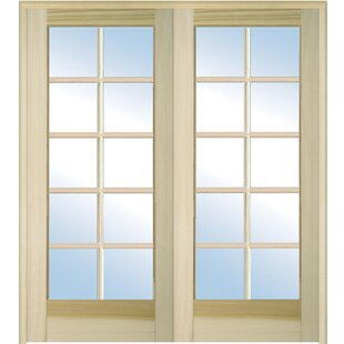 Wood 2 Panel Natural Interior French Door
