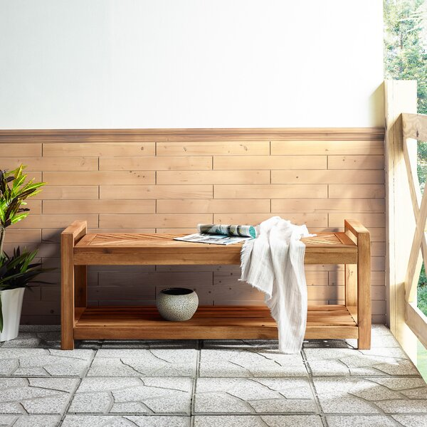 Blalock Chevron Wooden Storage Bench By Highland Dunes