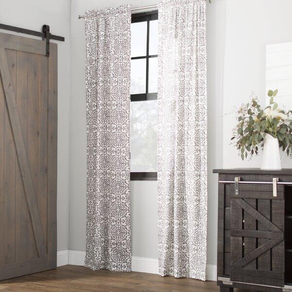 Livio Damask Semi-Sheer Rod Pocket Curtain Panels (Set of 2) by Laurel Foundry Modern Farmhouse