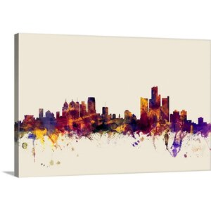 'Detroit Michigan Skyline' by Michael Tompsett Graphic Art on Wrapped Canvas by Great Big Canvas