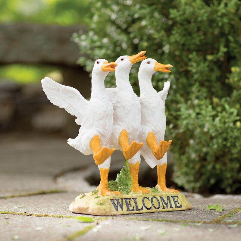 Preferred Design Toscano Delightful Dancing Ducks Welcome Garden Statue  HV81