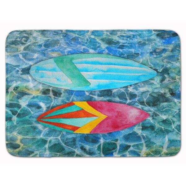 Cambridge Surf Boards on the Water Rectangle Microfiber Non-Slip Bath Rug