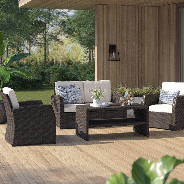 Bakke 4 Piece Rattan Sofa Seating Group With Cushions By Rosecliff Heights