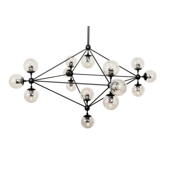 15 - Light Unique / Statement Geometric Chandelier With Crystal Accents By DCOR Design