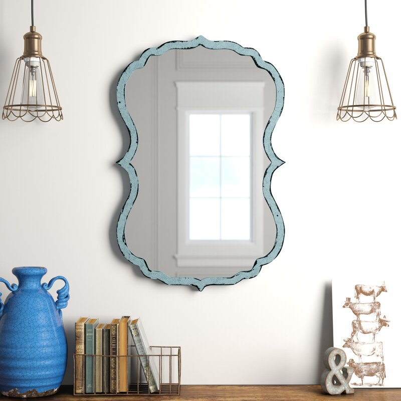 Mirrors On A Blue Accent Wall: Lark Manor Antiqued Light Blue Accent Mirror & Reviews
