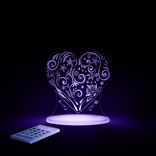 Aloka Starlights LED Love Heart Night Light with Remote Control by Lumenico
