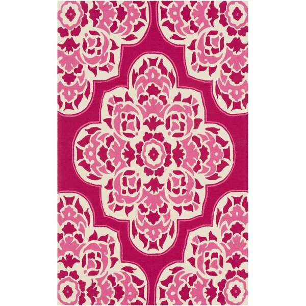 Pelchat Hand-Hooked Hot Pink Indoor/Outdoor Area Rug by Bungalow Rose