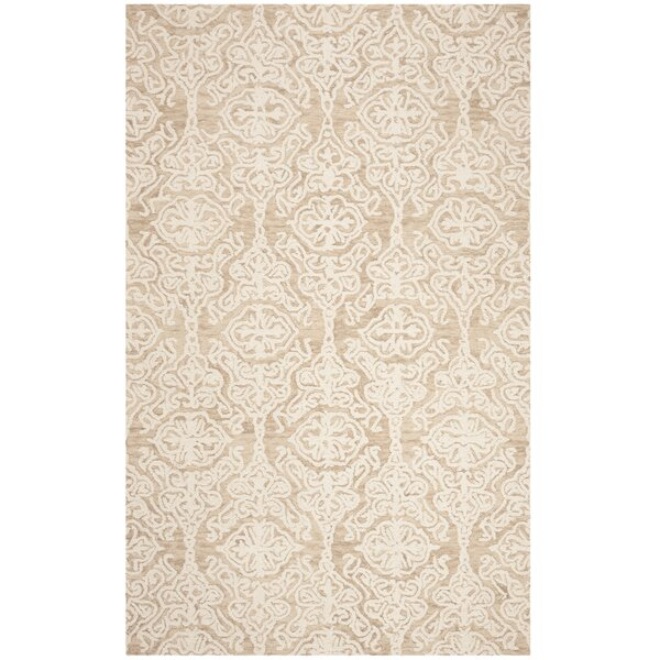 Deidamia Hand-Woven Wool Beige/Ivory Area Rug by Ophelia & Co.
