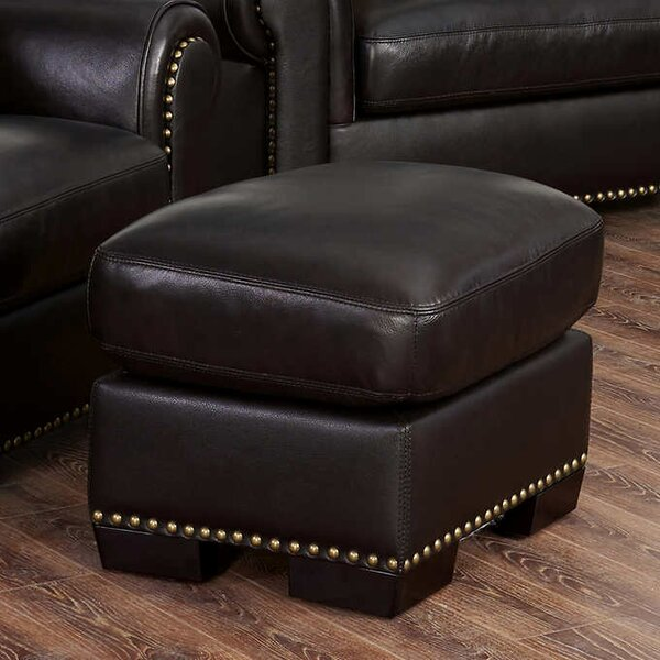 Alvis Leather Ottoman by Canora Grey